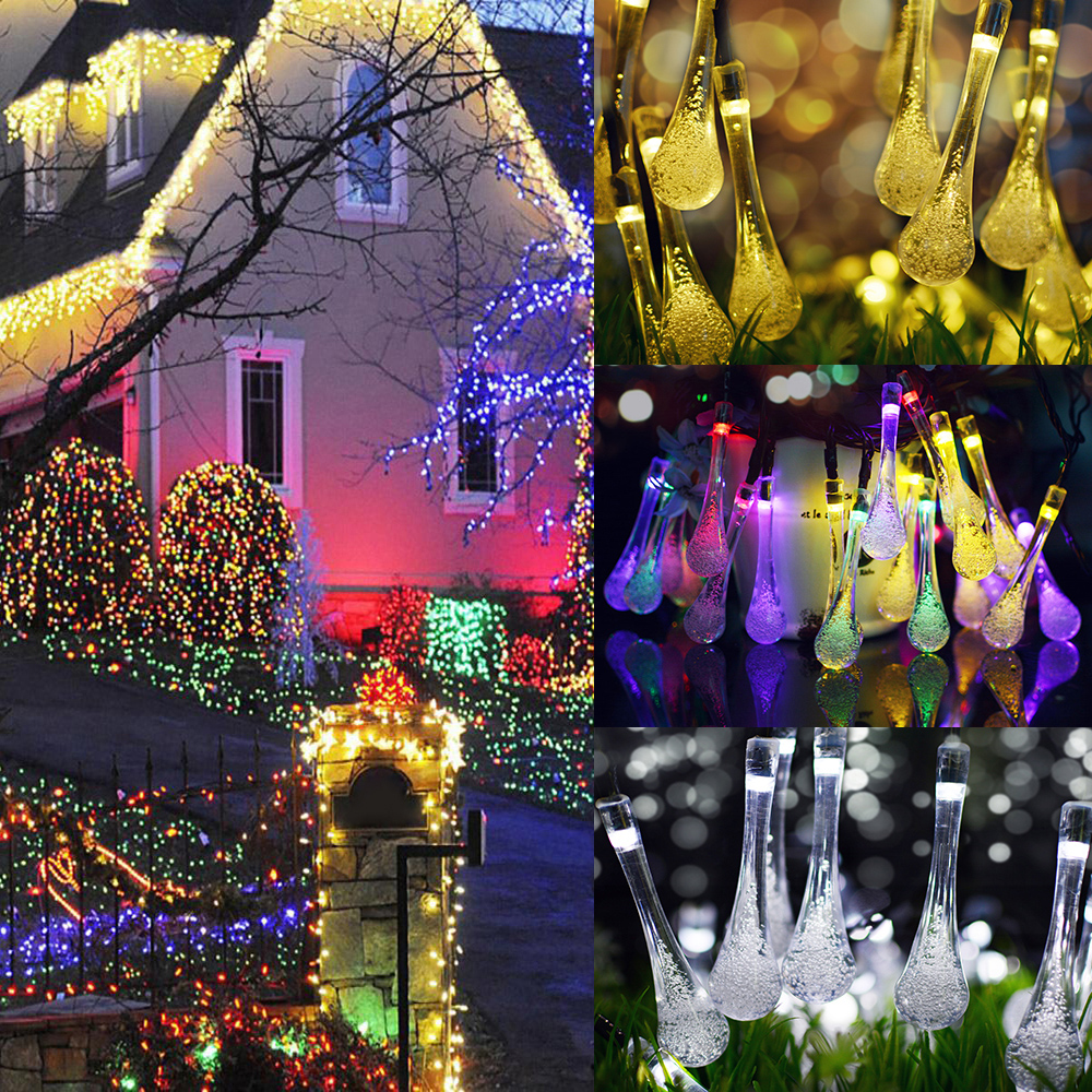 7M 50LEDs Waterproof Water Drop Shape Solar String Light Outdoor Holiday Decor Color light_(ME0003203)