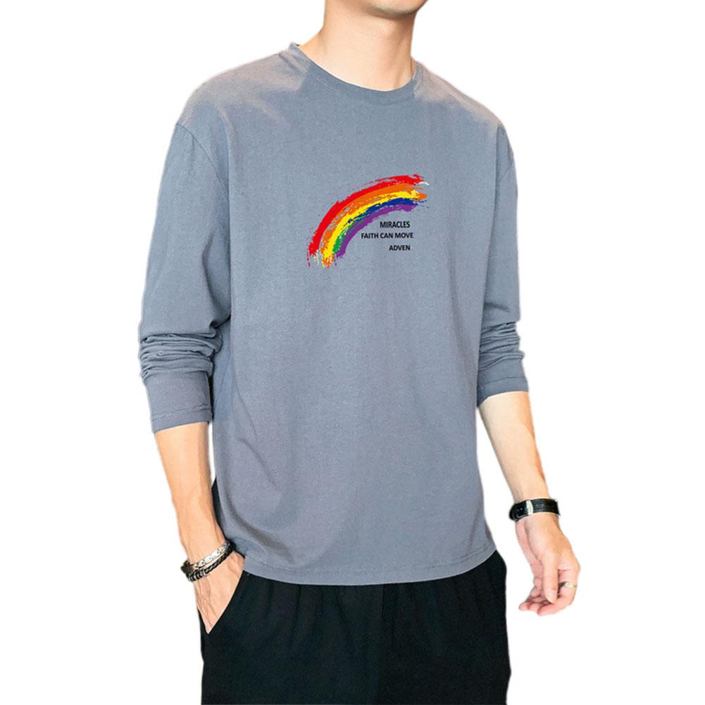 Men's T-shirt Autumn Printing Loose Long-sleeve Bottoming Shirt Gray blue_L