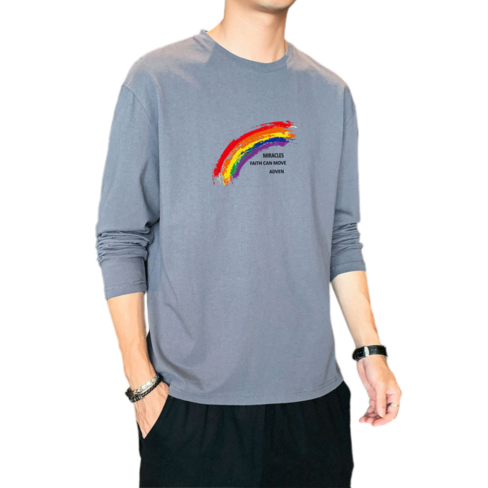 Men's T-shirt Autumn Printing Loose Long-sleeve Bottoming Shirt Gray blue_XL