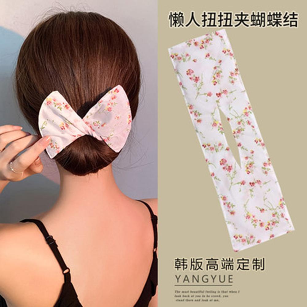 Deft  Bun  Hair  Bun  Maker Elastic Bands Classy Multicolor Cloth Magic Clip Fashion Flexible Reusable Bun White small floral