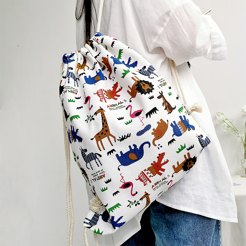 Women Cute Cartoon Animal Printing Travel Canvas Drawstring Backpack Bag zoo