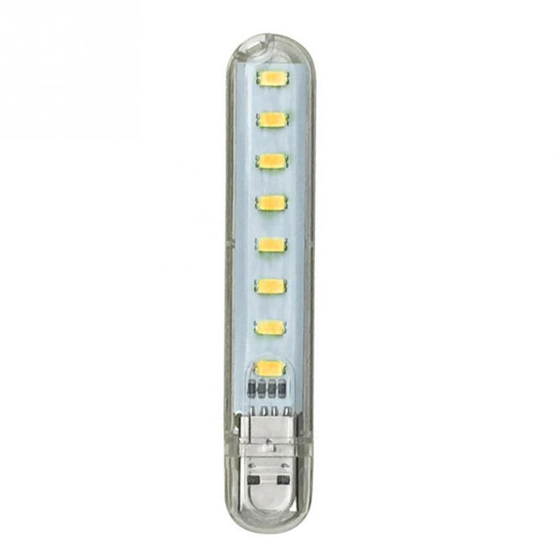 DC5V USB 8LED Highlight Night Lamp Portable Light for Camping PC Laptop warm light
