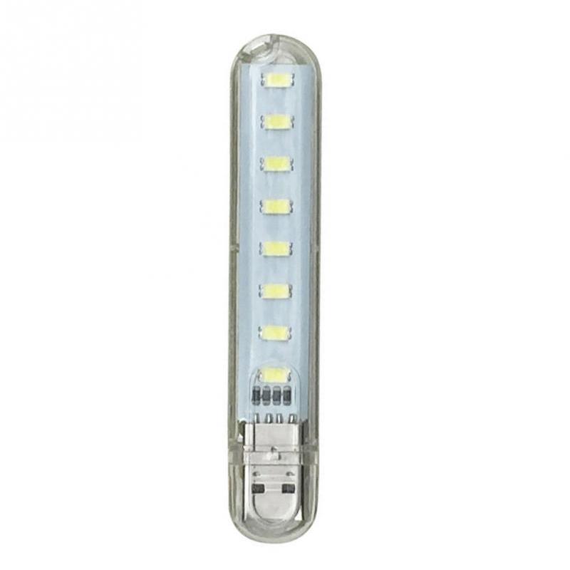 DC5V USB 8LED Highlight Night Lamp Portable Light for Camping PC Laptop White light
