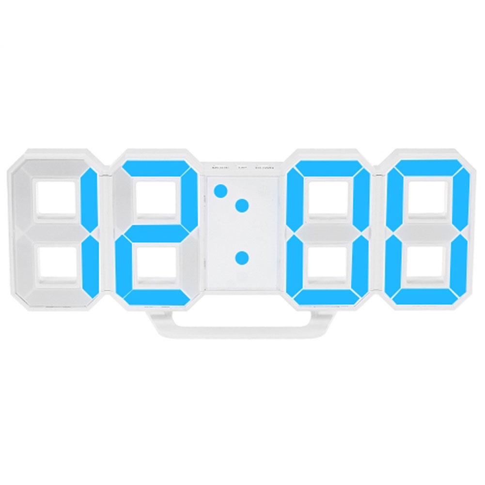 LED Wall Clock Alarm Clock Digital 3D Living Room Explosion Models Electronic Clock blue