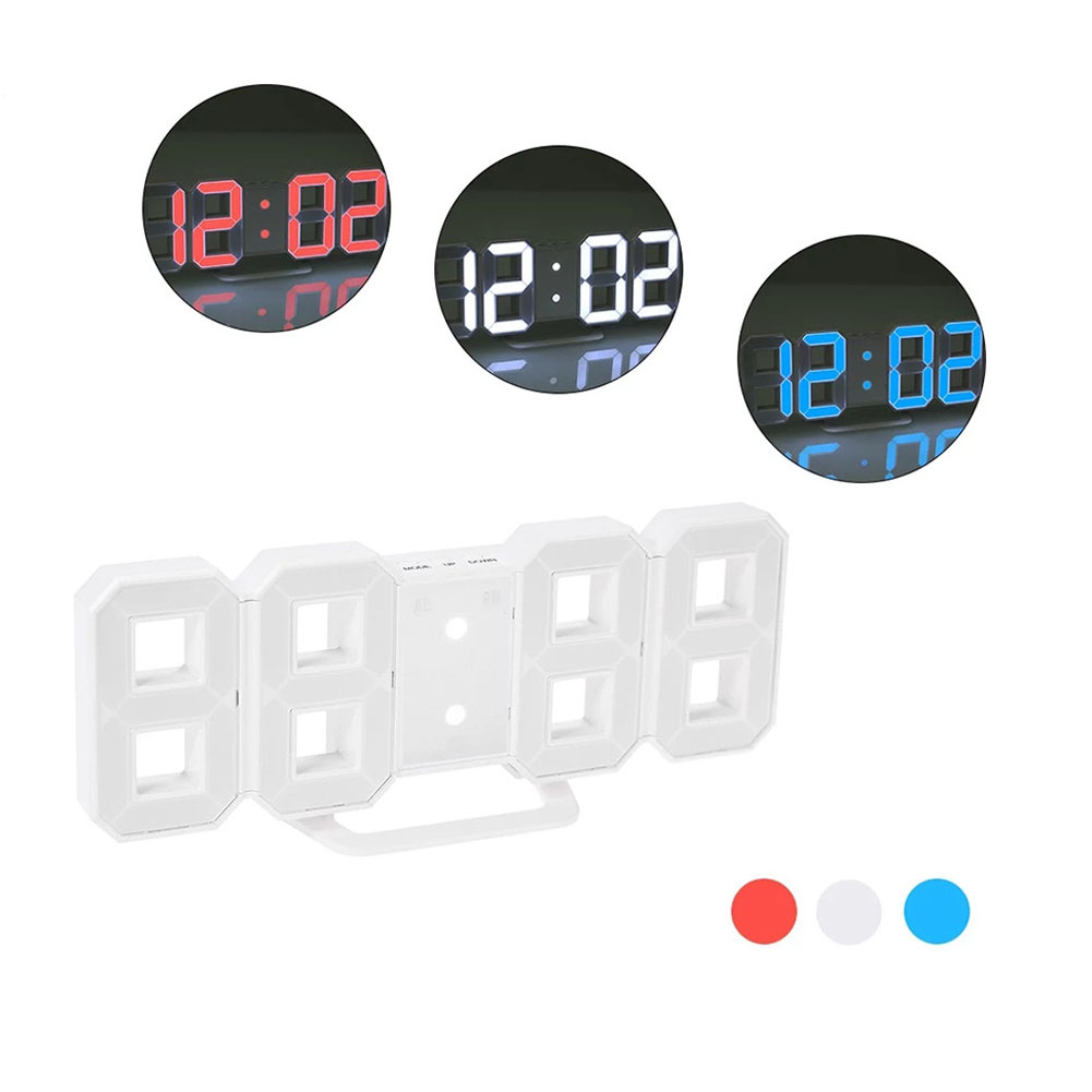 LED Wall Clock Alarm Clock Digital 3D Living Room Explosion Models Electronic Clock White shell blue white red three colors