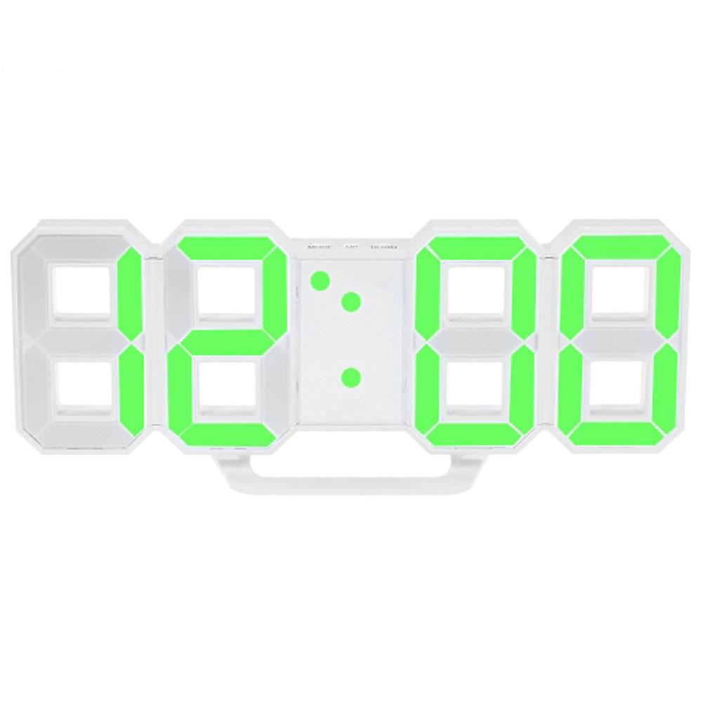 LED Wall Clock Alarm Clock Digital 3D Living Room Explosion Models Electronic Clock green