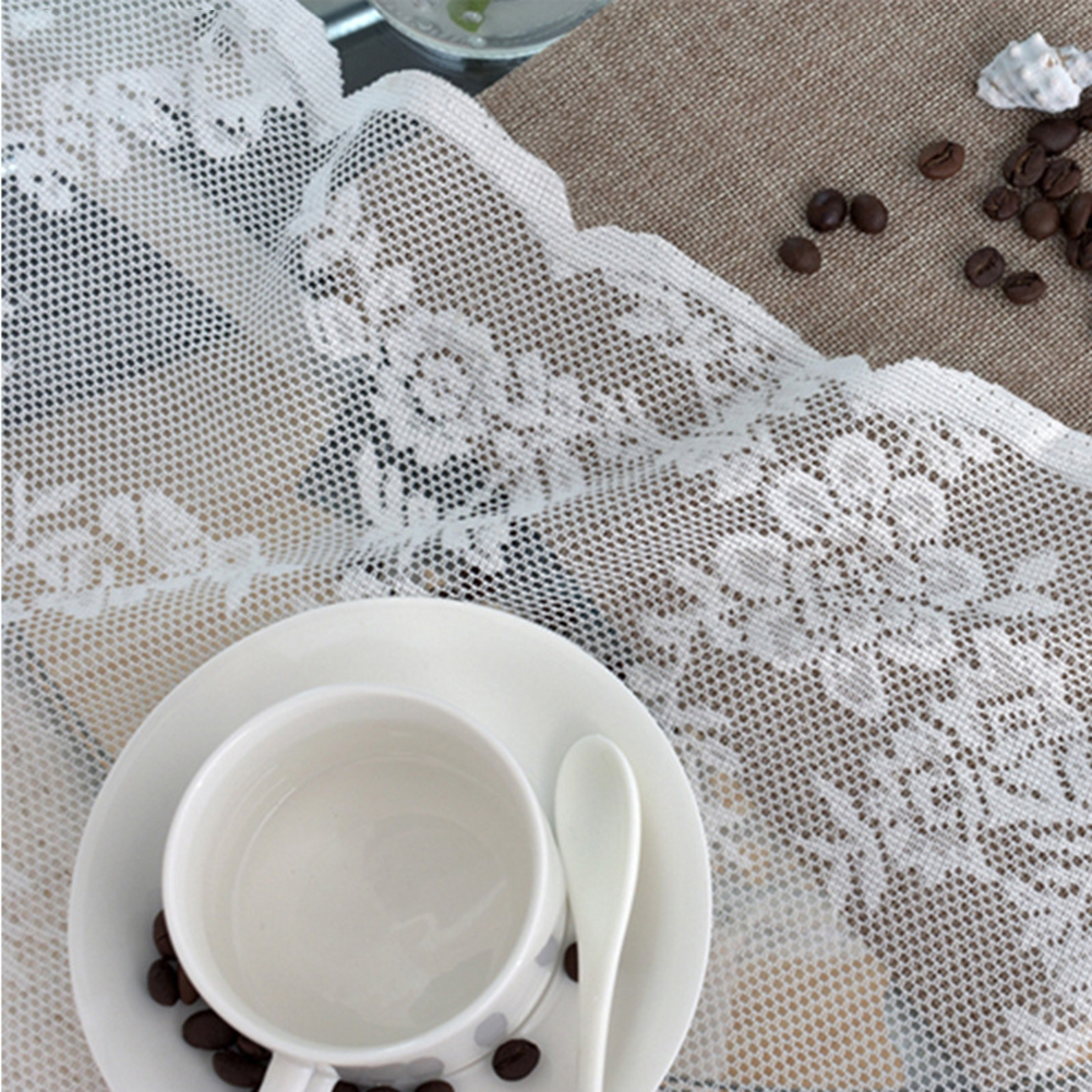 White Lace Tulle Curtain for Party Hotel Living Room Separate Decor Hook processing_150*100cm