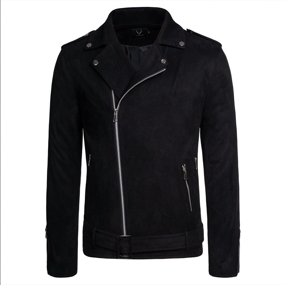 Men's Jackets Autumn Diagonal Zipper Solid Color Lapel Casual Jacket Black _M