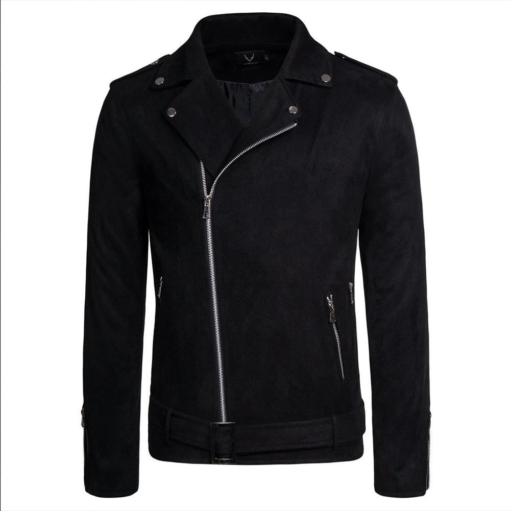 Men's Jackets Autumn Diagonal Zipper Solid Color Lapel Casual Jacket Black_L