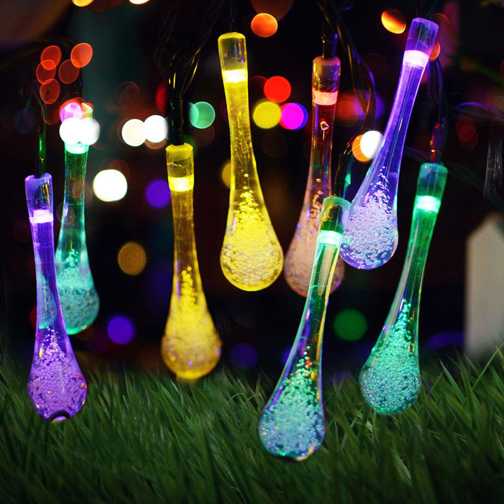 7M 50LEDs Solar Powered Water Drop Shape String Light IP65 Waterproof Color light_(ME0003203)