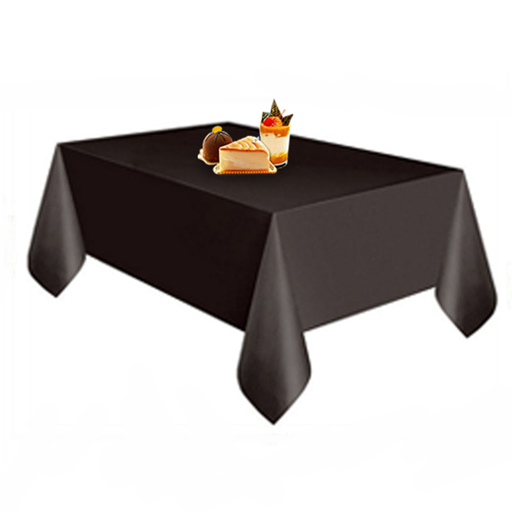 Disposable Solid Color Plastic Table Cloth Cover Table Wear for Outing Picnic Wedding Banquet Restaurant Decoration black_137X274CM