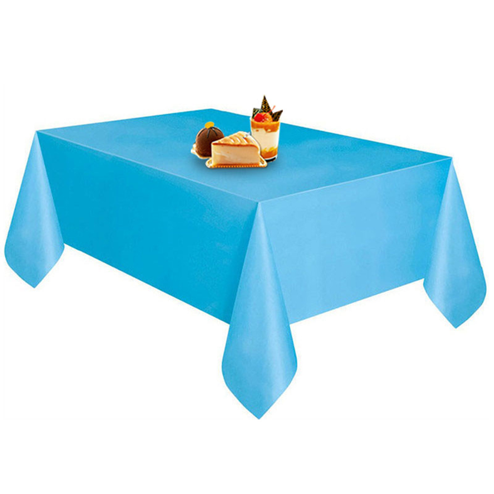Disposable Solid Color Plastic Table Cloth Cover Table Wear for Outing Picnic Wedding Banquet Restaurant Decoration sky blue_137X274CM
