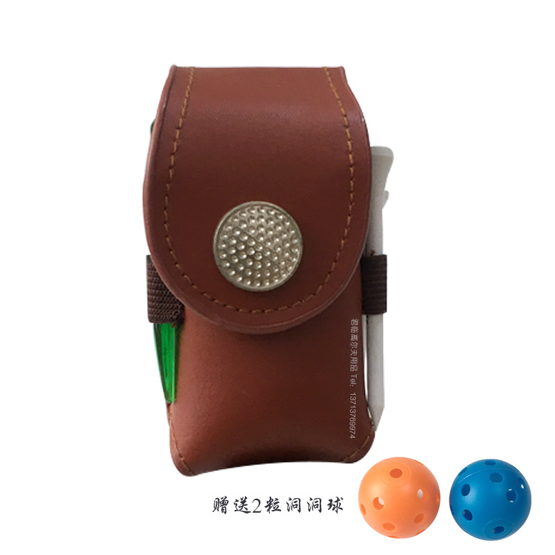 Portable Golf Ball Holder with 2 Trainning Balls Waist Pouch Bag Leather Golf Tee Bag Small Golf Ball Bag brown
