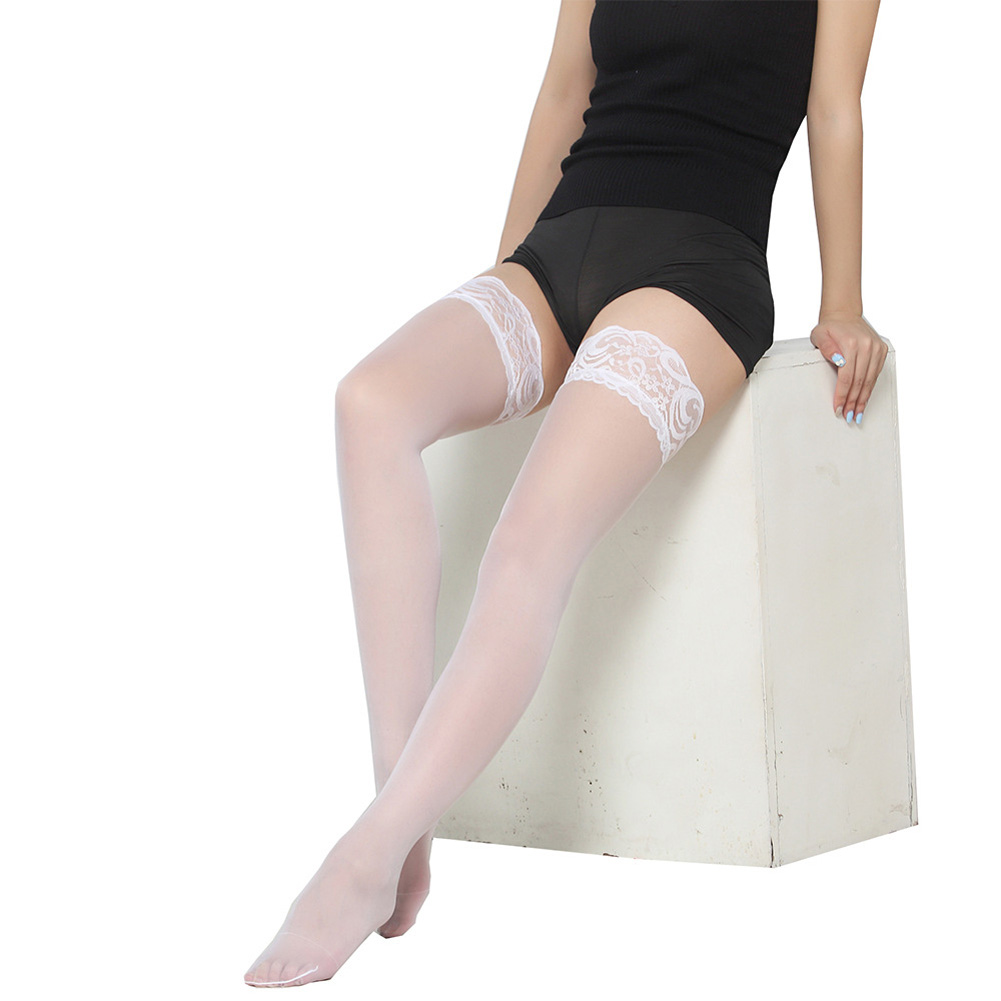 Women Silk Stockings Sexy Lace over the Knee Nightclubs Pantyhose white