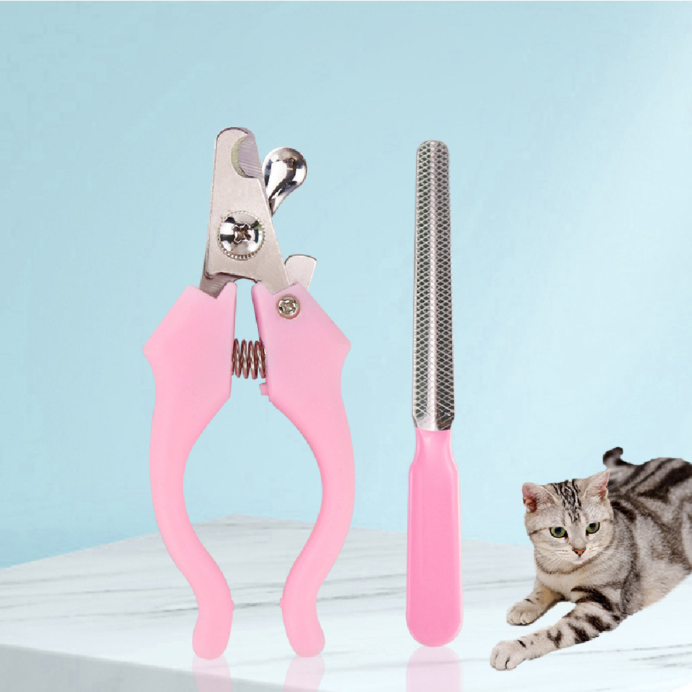 Pet Nail Scissor with File Stainless Steel Animal Grooming Tool for Dog Cat Pink with file