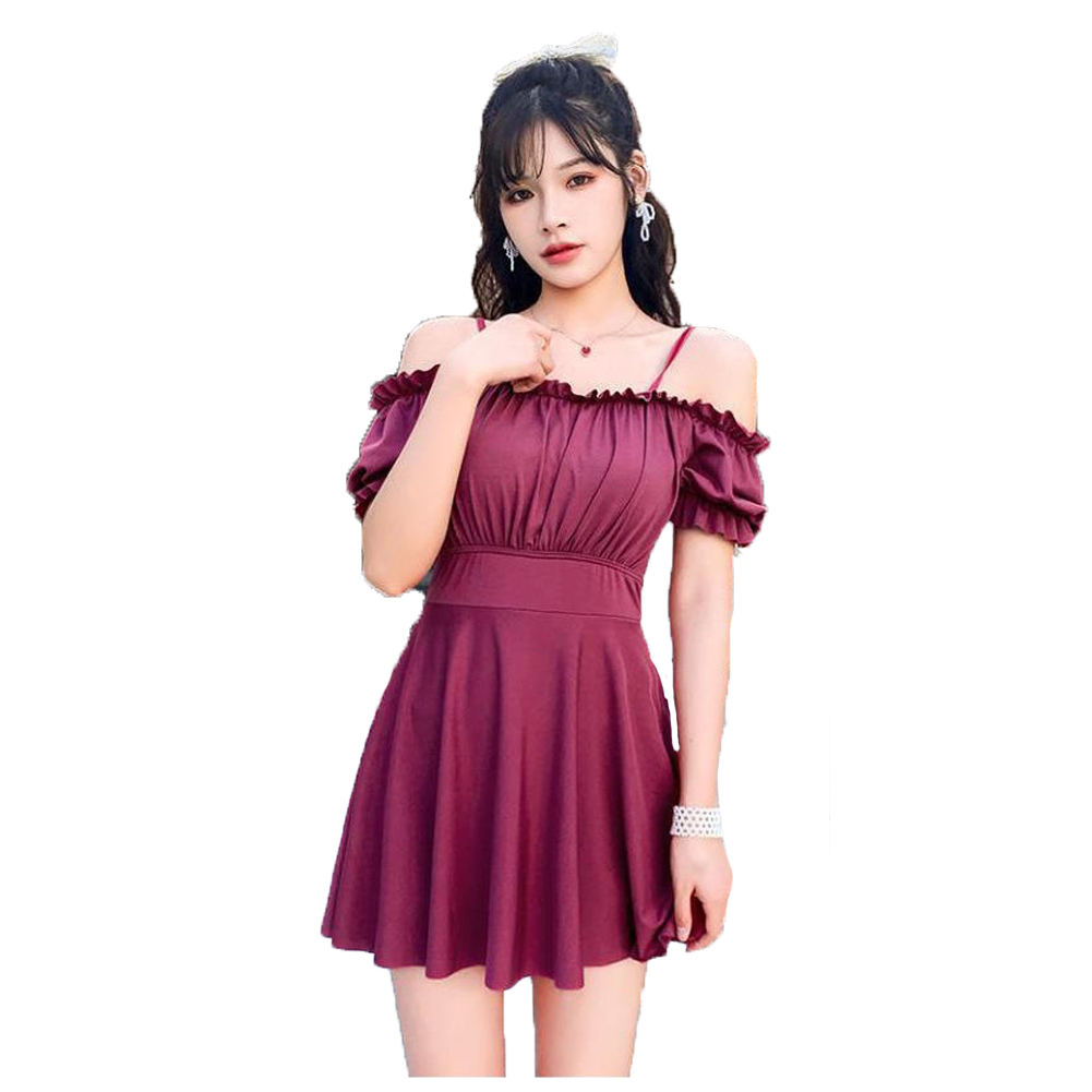 Women Swimsuit Solid Color Skirt-style One-piece Swimsuit For Summer Beach Holiday Wine red_L