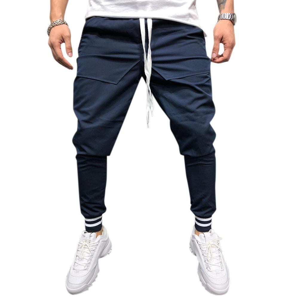 Men Jogger Pants Urban Hip Hop Casual Trousers Pants Fitness Sports Slacks  Navy_L