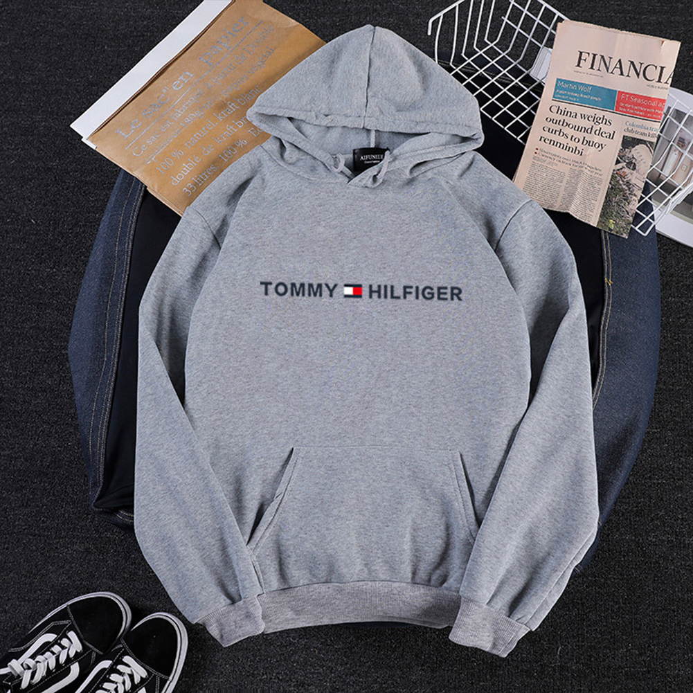 Men Women Hoodie Sweatshirt Printing Letters Thicken Velvet Loose Fashion Pullover Gray_XL