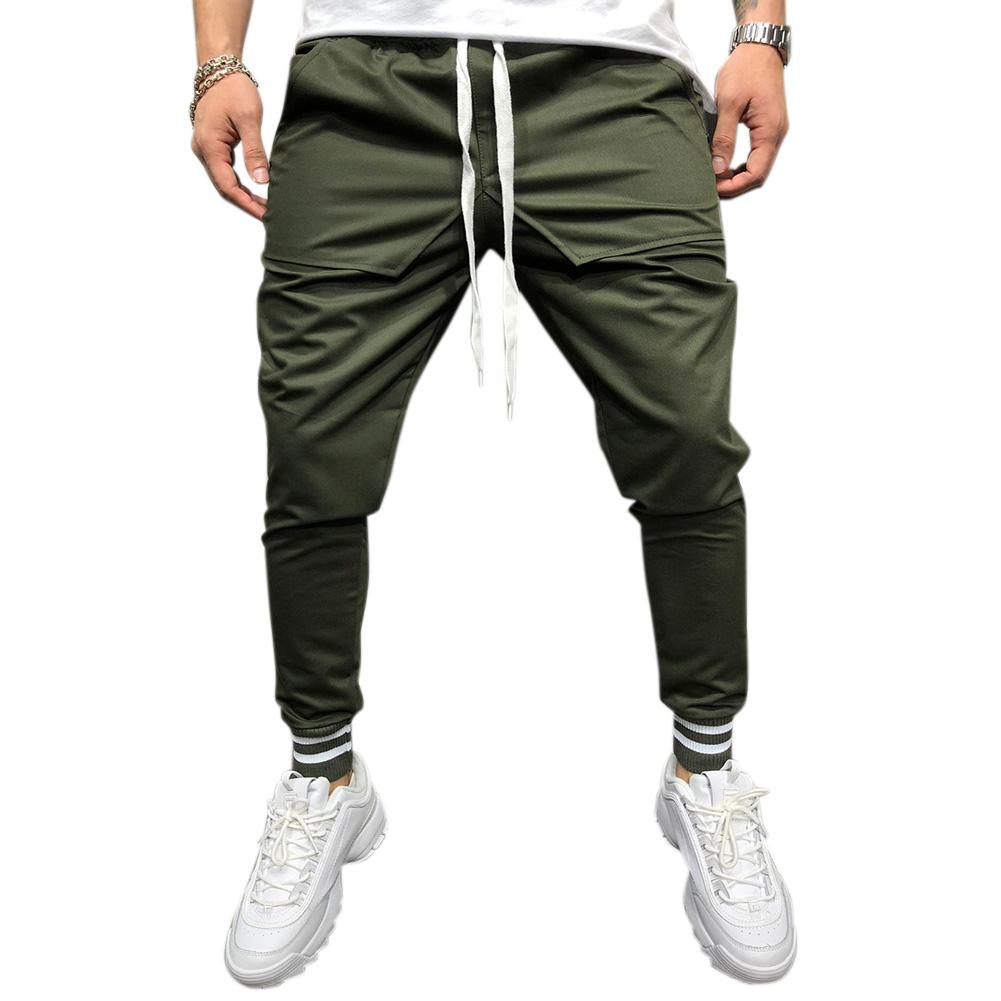 Men Jogger Pants Urban Hip Hop Casual Trousers Pants Fitness Sports Slacks  ArmyGreen_M