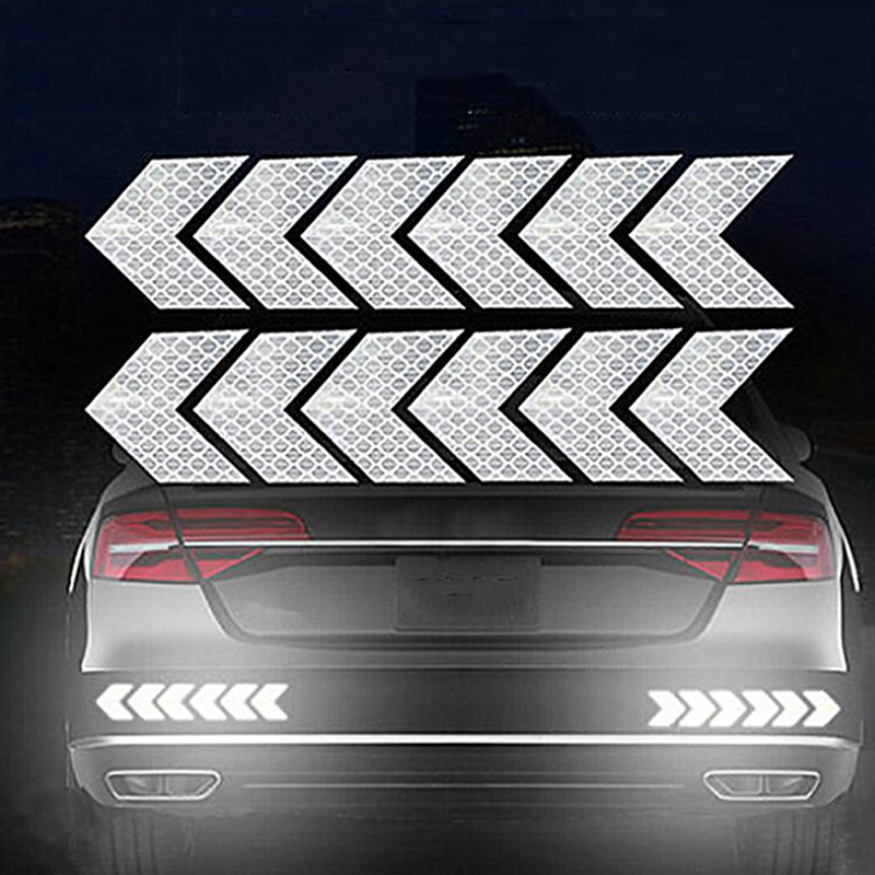 12PCS Big Car Night Warning Reflective Sticker Scratch Modified Electric Motorcycle Body Sticker  White