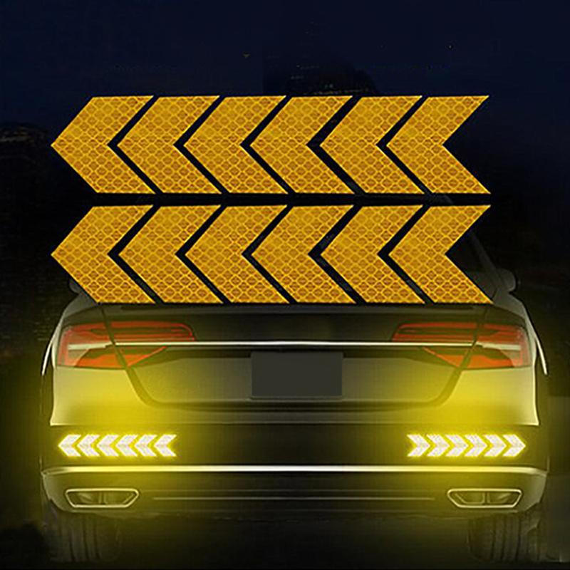 12PCS Big Car Night Warning Reflective Sticker Scratch Modified Electric Motorcycle Body Sticker  yellow