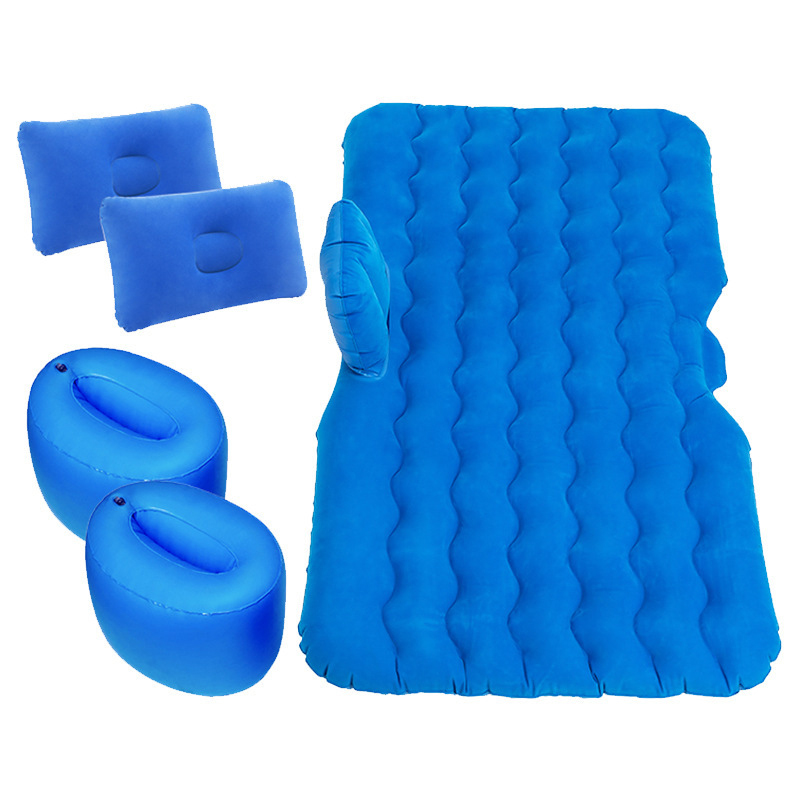 (135 * 70CM) Car Inflatable Bed Cushion Adult Car Travel Large Parts Split foot pier blue