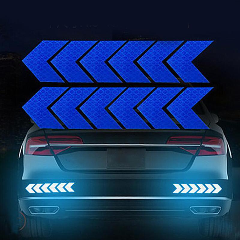 12PCS Big Car Night Warning Reflective Sticker Scratch Modified Electric Motorcycle Body Sticker  blue