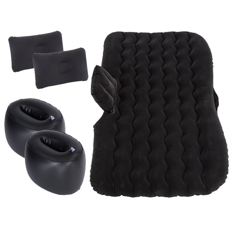 (135 * 70CM) Car Inflatable Bed Cushion Adult Car Travel Large Parts Split foot black