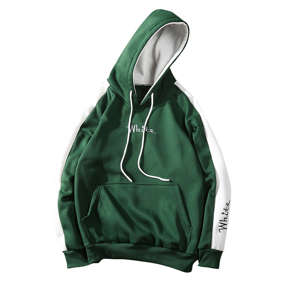 Men Fashion Hooded Sweatshirt Long-Sleeve Matching Color Casual Coat Tops for Winter Autumn green_XL