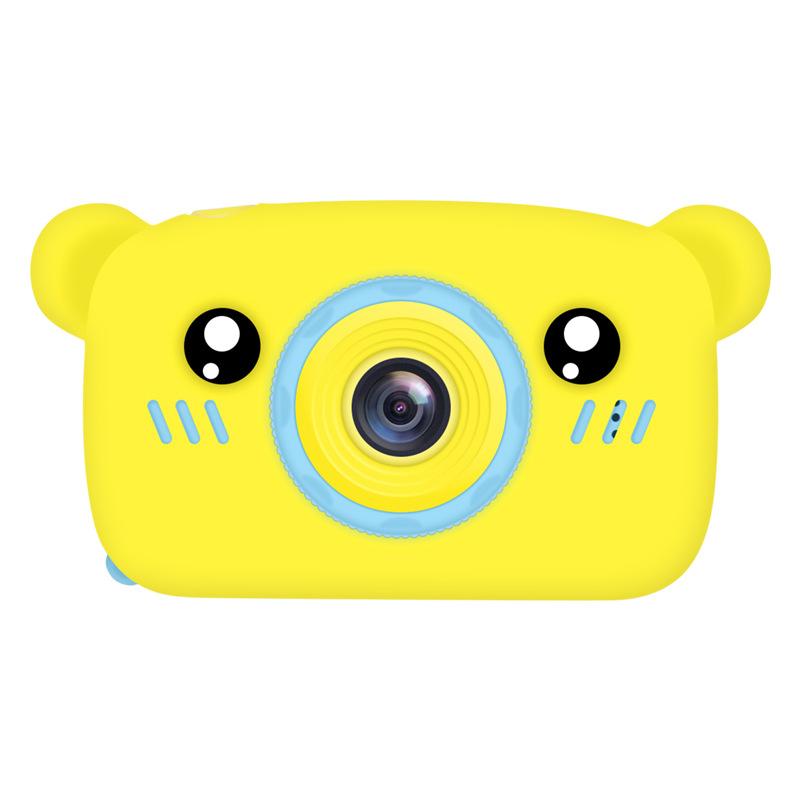 2 Inch HD Screen Digital Mini Camera Kids Cartoon Cute Camera Toys Outdoor Photography Props for Child  Yellow bear
