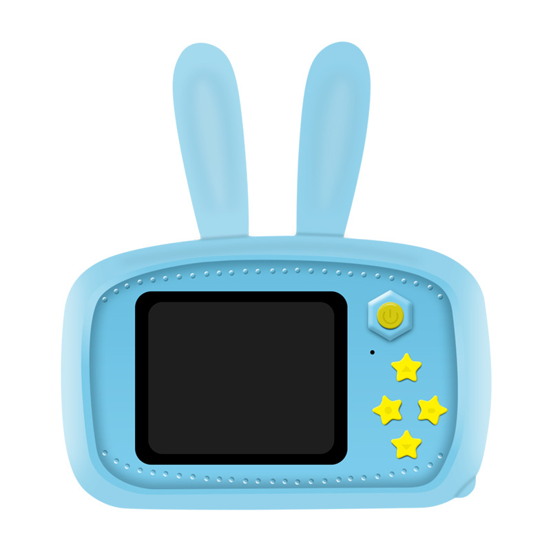 2 Inch HD Screen Digital Mini Camera Kids Cartoon Cute Camera Toys Outdoor Photography Props for Child  Blue rabbit