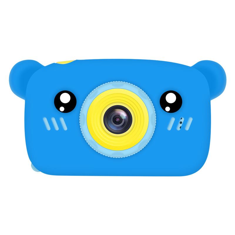 2 Inch HD Screen Digital Mini Camera Kids Cartoon Cute Camera Toys Outdoor Photography Props for Child  Blue bear