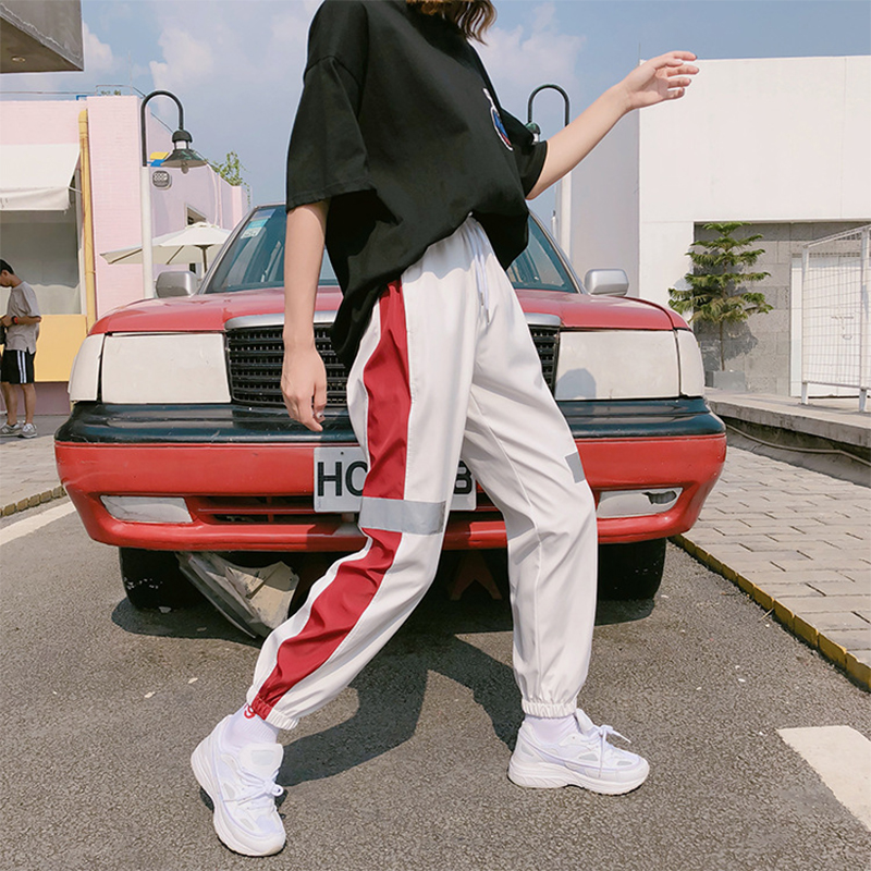 Spring and Summer Women Loose Cool  High Waist Elastic Hip Hop Sweatpants Pants white_S