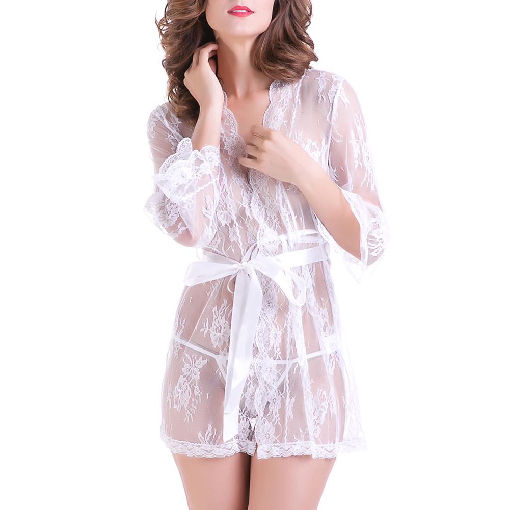 2PCS/Set Women Sexy Nightdress Night-Robe + G-String See-Through Lace Kimono Style Nightwear Underwear Set white_L