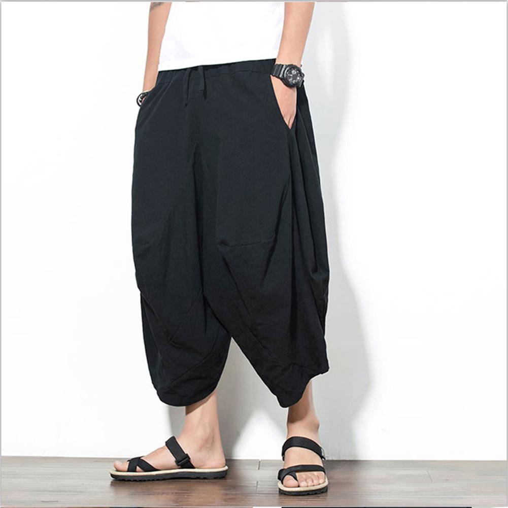 Men Summer Casual Solid Color Loose Beach Pants Cotton Linen Harem Pants black_L