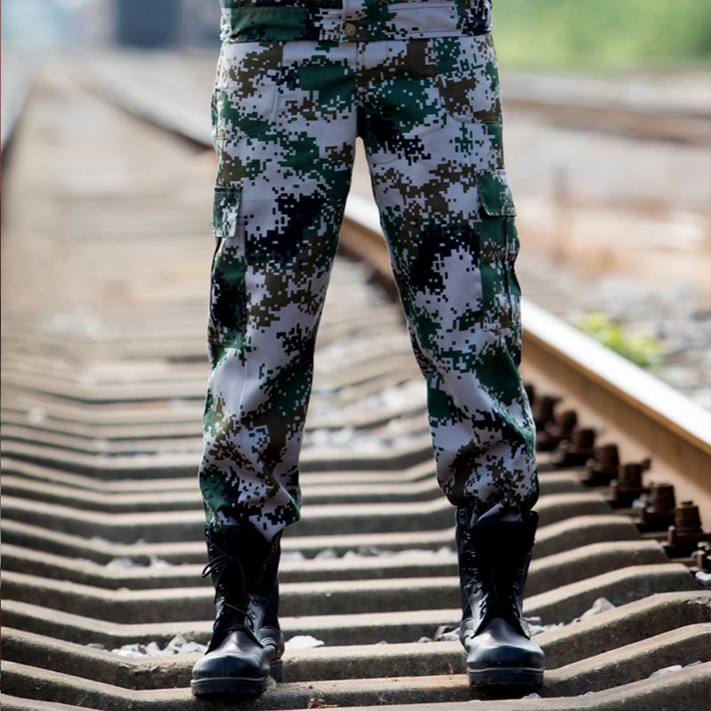 Unisex Special Training Camouflage High Strength Pants Wear Resistant Casual Trousers Universal camouflage_170=M