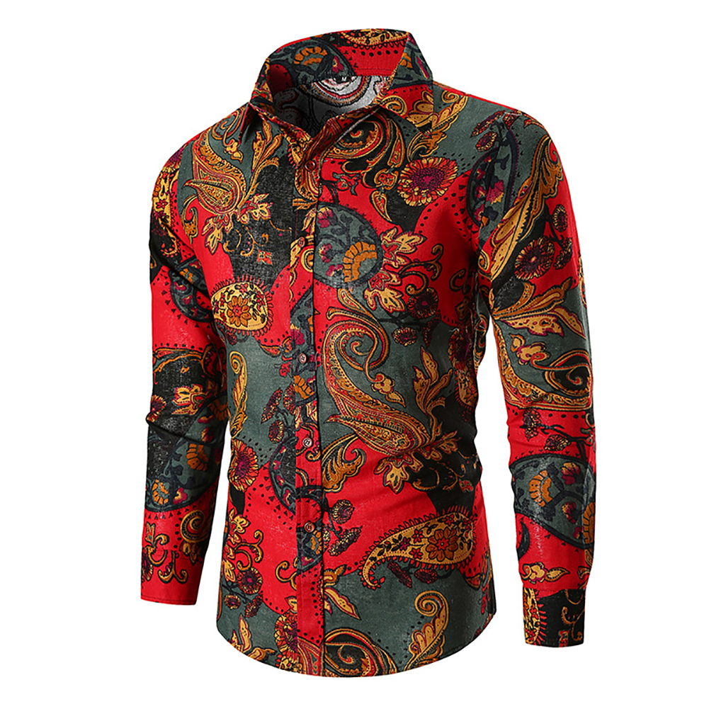 Men Fashion Cool Printing Casual Long Sleeve T-shirt red_L