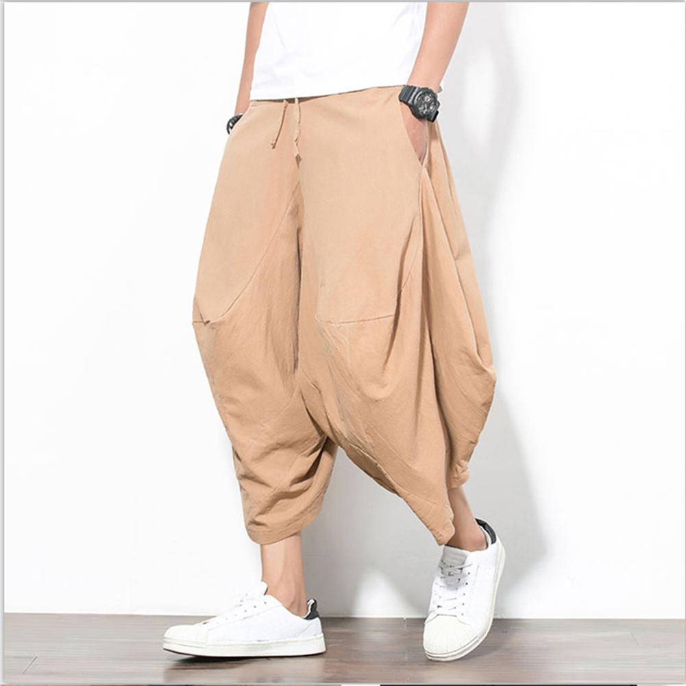 Men Summer Casual Solid Color Loose Beach Pants Cotton Linen Harem Pants Khaki_XXL