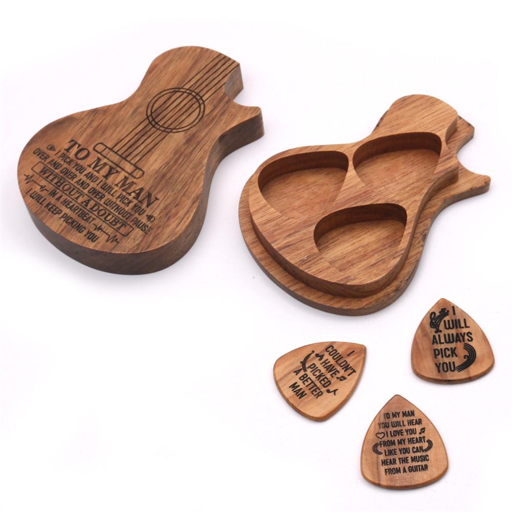 Guitar Pick Suit Wooden Guitar Picks Case Delicate Guitar Picks Guitar Accessories Wood color
