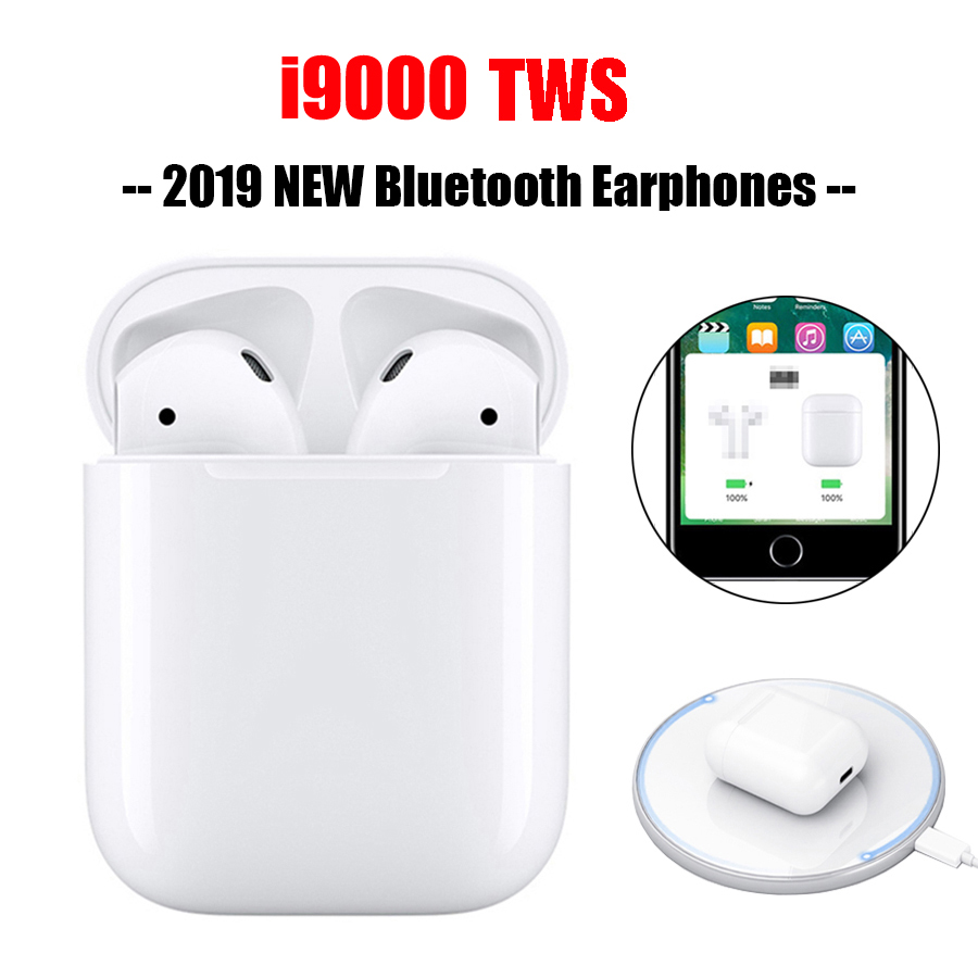 I9000 TWS Bluetooth Headset Earphones Mini Wireless Earbuds Sport Handsfree Earphone with Wireless Charging Function Headset  I9000