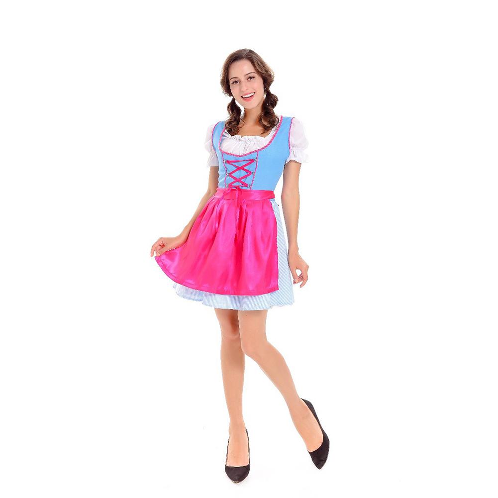 Women Maid Costume Short Skirt for Club Beer Festival Halloween Dresses Section 1 (white top; plaid skirt; apron)_XL