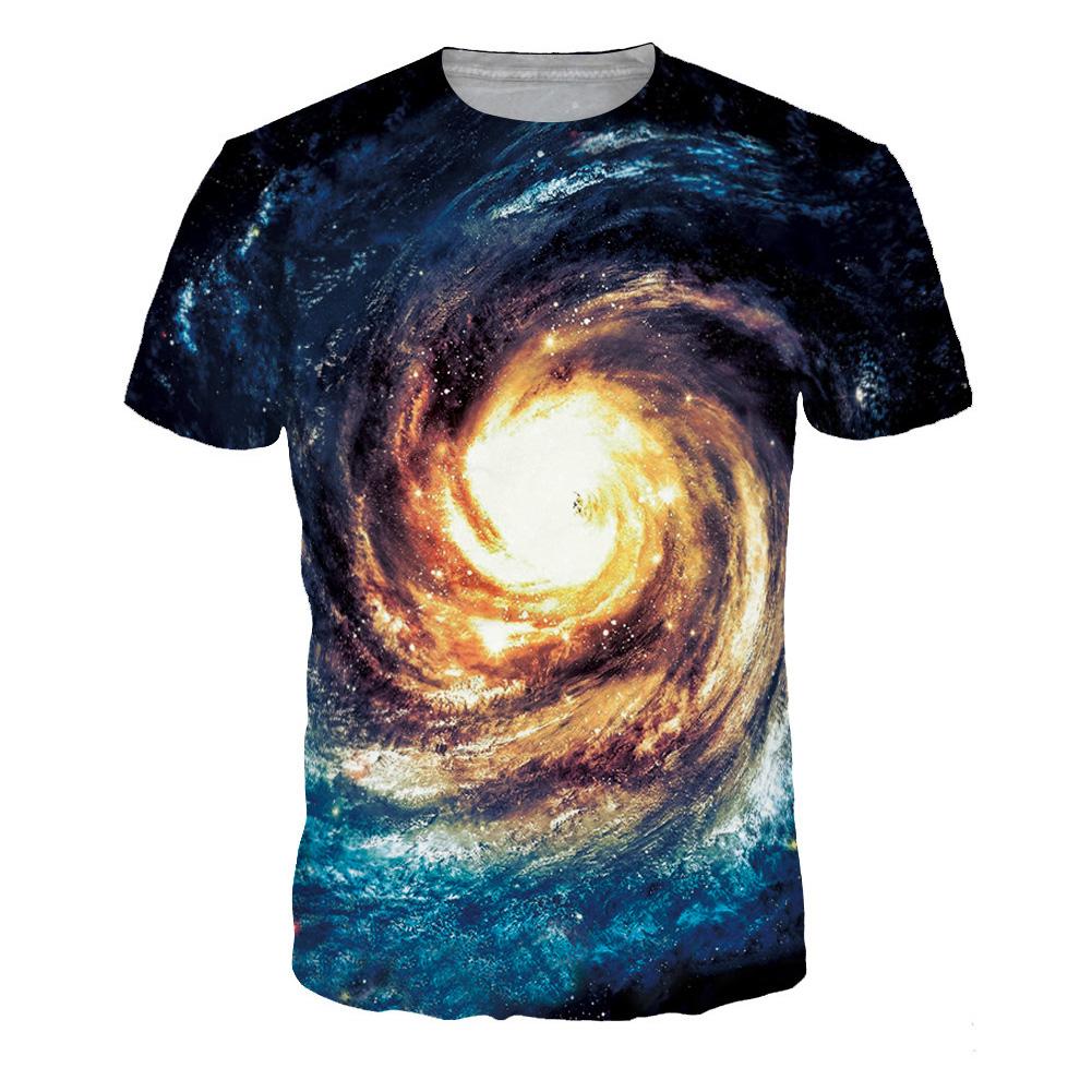 Unisex Stylish 3D Blue Starry Digital Printed Short Sleeve T-shirt Blue swirl_L