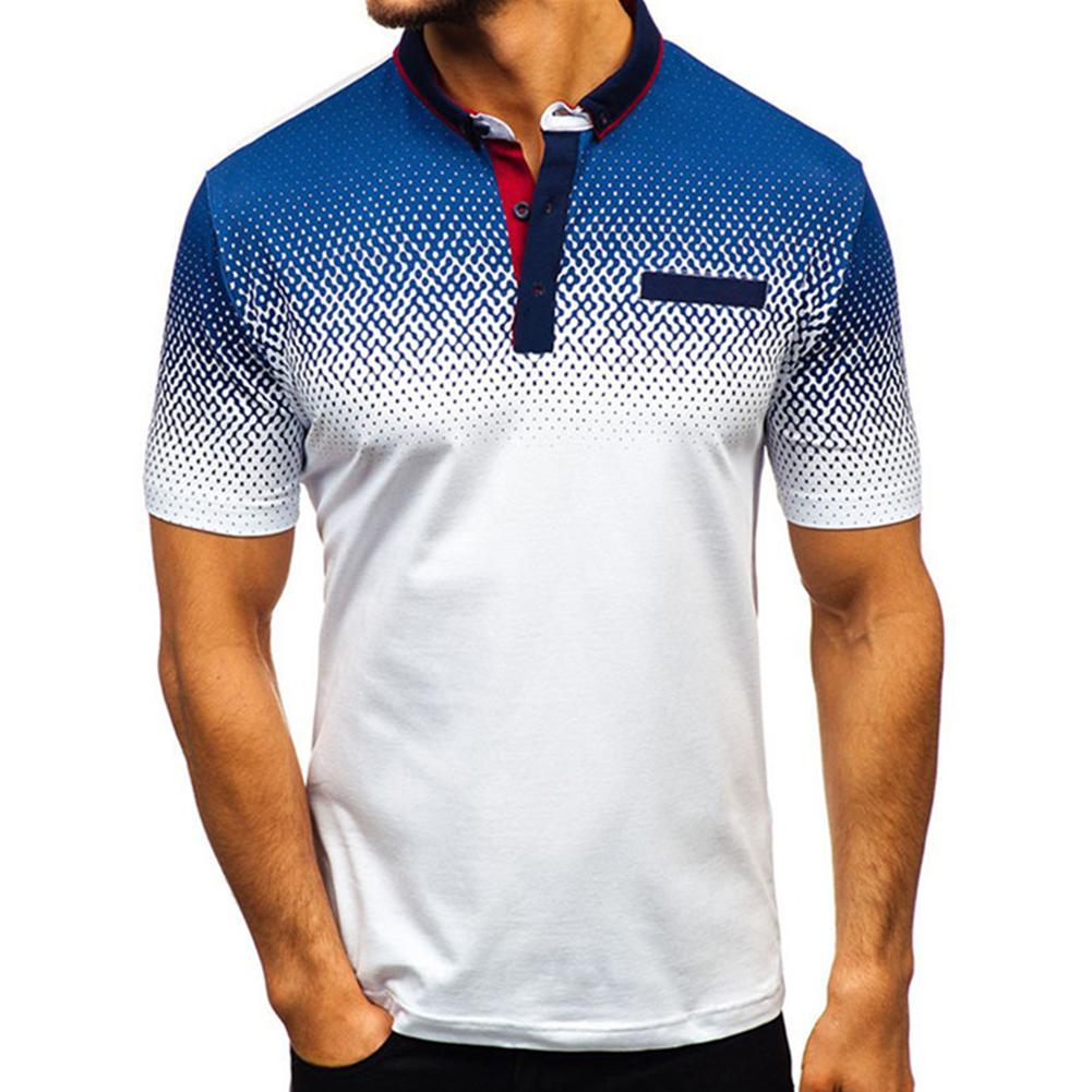 Man Summer 3D Printing Short Sleeves Lapel Polo Shirt  white_L