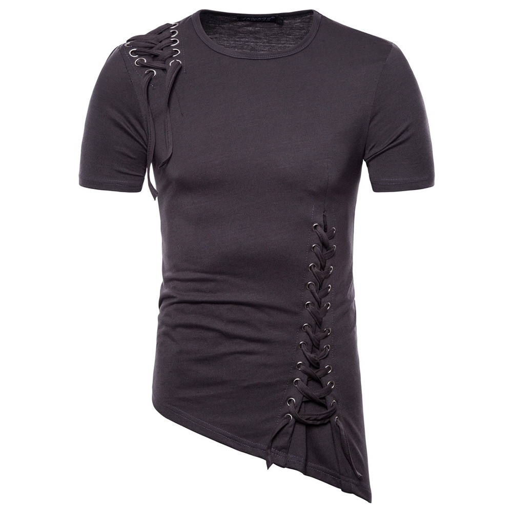 Men Casual Slim Short Sleeve T-Shirt Unique Irregular Hem Braided Rope Tops Dark grey_M