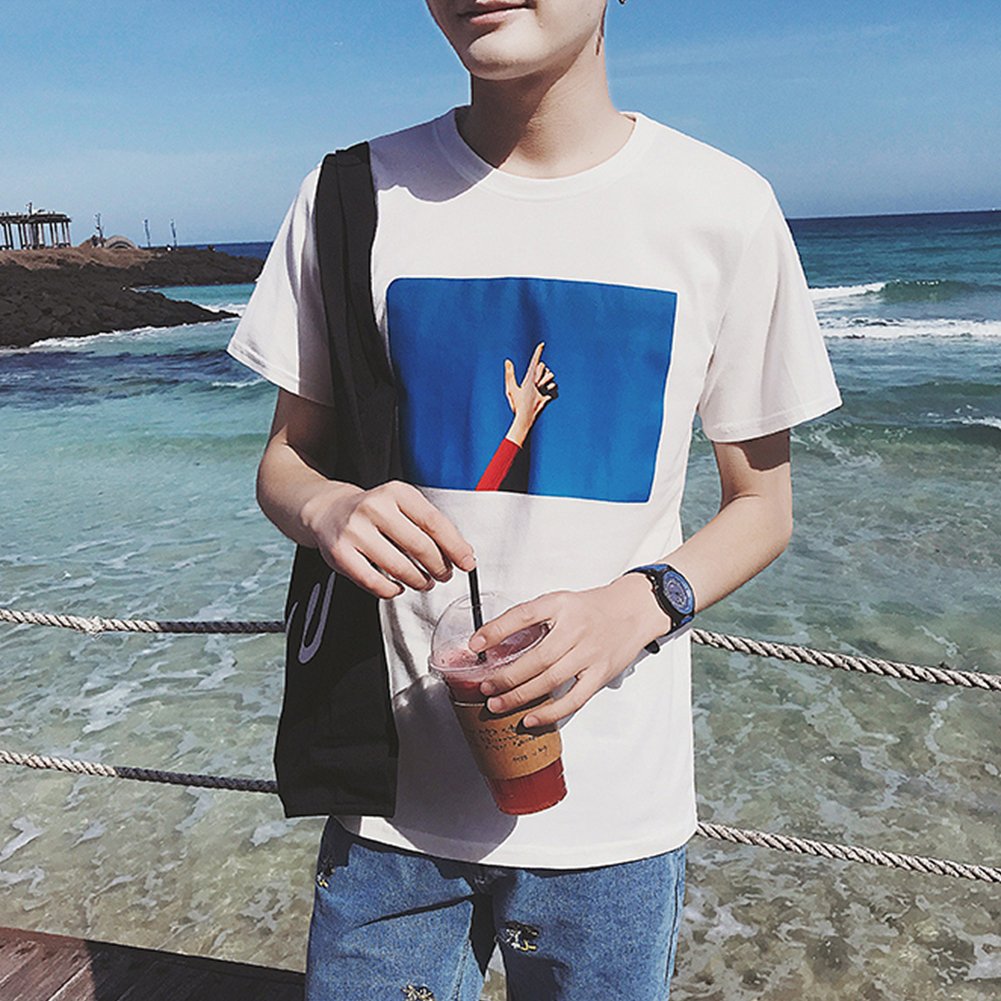 Men T-shirt Handsome Summer Fashion Gesture Printing Pattern Short-sleeved Top Couple Shirt Loose T-shirt Blue sky white_S