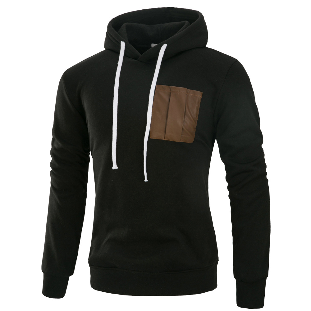 Men Fashion Long Sleeve Hooded Casual Pullover Sweatshirt Tops Black_XL