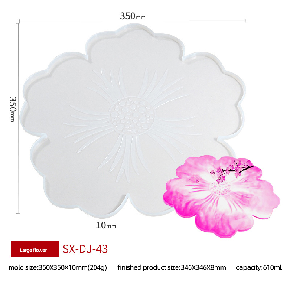 Coasters Silicone Molds Flowers Tray Cup Mat Mold for DIY Crafts Table Decoration