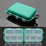 Small 10 Compartments Waterproof Hard Fishing Tackle Box Case, Hooks Lure Baits Storage Box