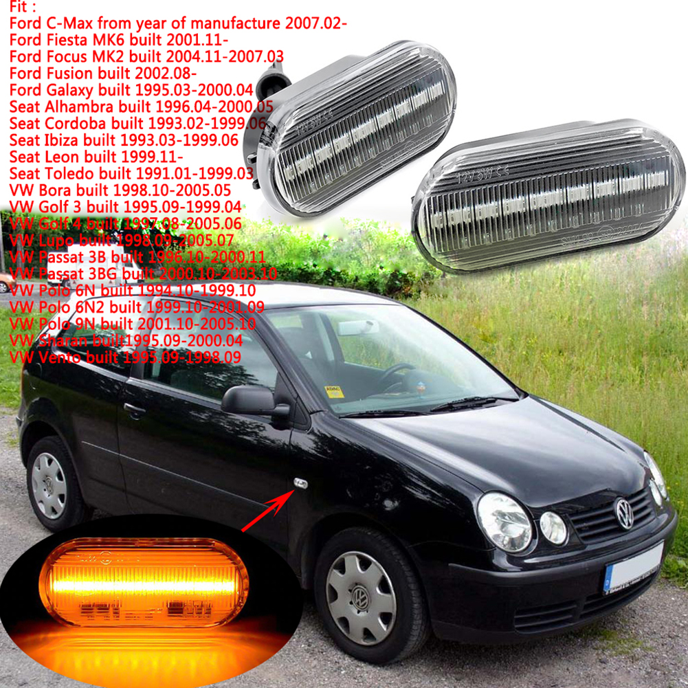 LED Car Amber Signal Light Side Flowing Water Indicator Bulbs for Volkswagen Golf Bora Passat white_With flowing water