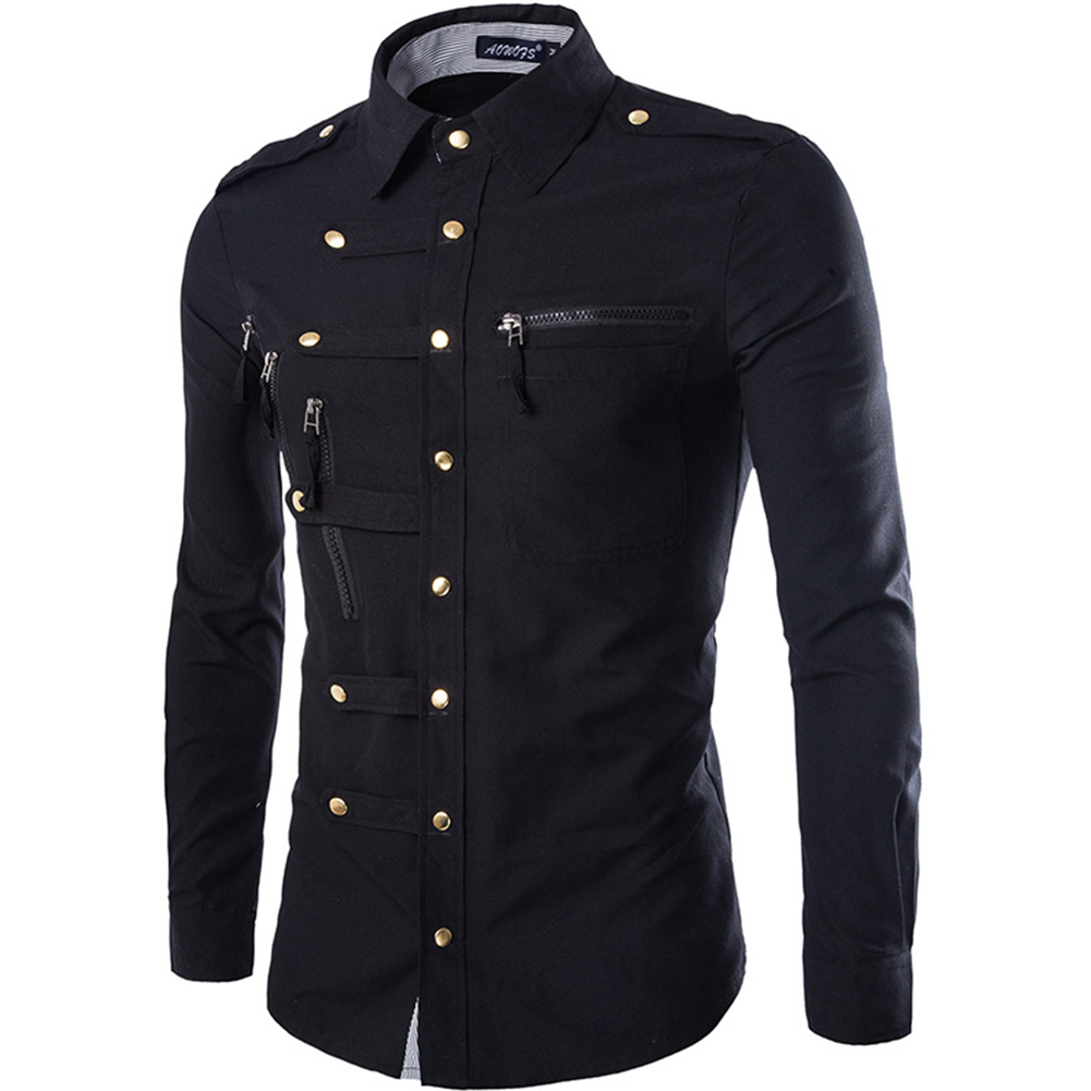 Men Spring And Autumn Retro Simple Fashion Long Sleeve Shirt Tops Navy_M